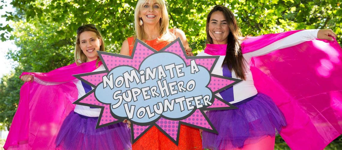 Volunteer Ireland Calls for Nominations for Ireland's Best Volunteers.  Calling all superhero volunteers! Miriam O'Callaghan launches the Volunteer Ireland Awards 2016 with help from two superhero volunteers; Renata Feritas and Marta Begonja. Nominations are now open, see www.volunteer.ie for more information. ***NO FEE***Photography: Conor Healy Photography