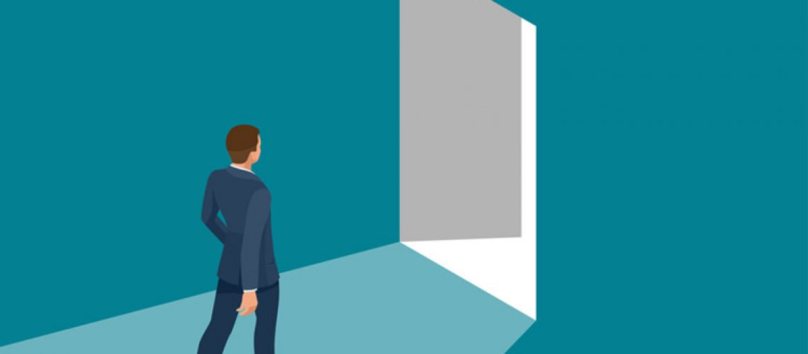 Businessman going exit door sign, emergency. Business solution or exit strategy concept. Leaving the office building. Isometric vector illustration.